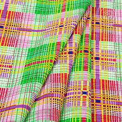 Ткань бязь 150 см Шотландка Зеленый плательная