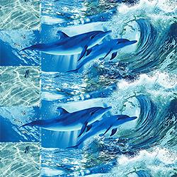 Вафельное полотно 150 см Дельфинарий