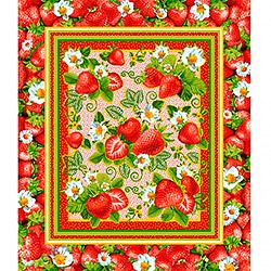Ткань вафельное полотно 50 см Клубника 1